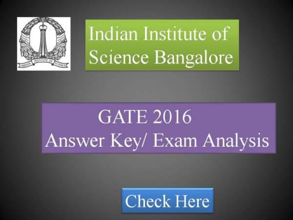 GATE 2016 Answer Key