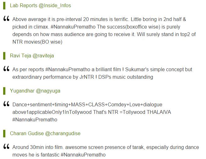 Nannaku Prematho live updates