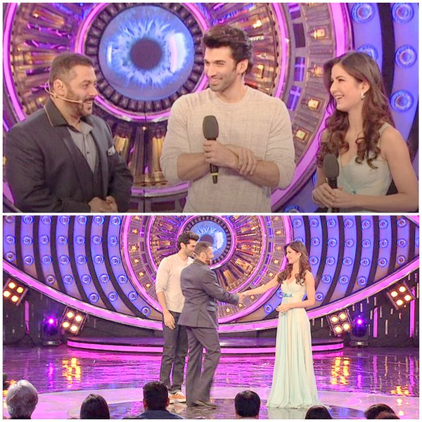 Photomash of the meeting and welcome ceremony of the Fitoor team on Bigg Boss 9 stage
