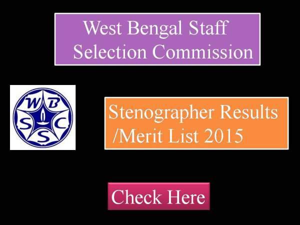 WBSSC Stenographer Result 2015