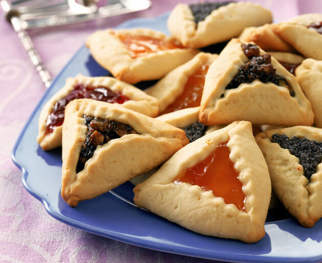 These cookies, called Hamantashen, are traditionally made on Purim.
