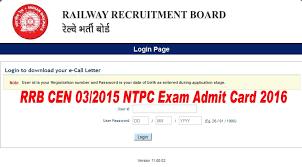 RRB NTPC Admit Card 2016