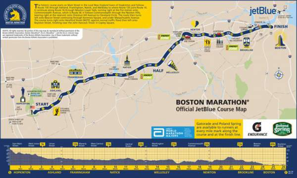 2016 Boston Marathon course map / route map