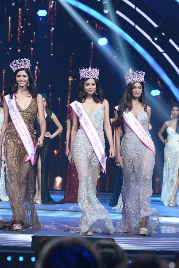 Winners of FBB Femina Miss India 2016 Pankhuri Gidwani, Priydarshini Chatterjee and Sushruthi Krishna.