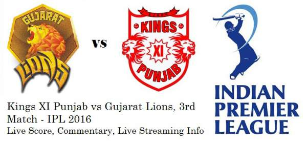 Kings XI Punjab vs Gujarat Lions Live Streaming