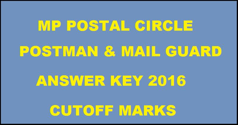 Madhya Pradesh Post Circle Postman & Mail Guard Answer Key 2016