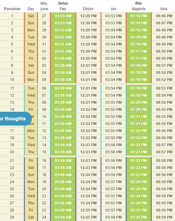 Calendar Ramadan Date : When is ramadan calendar timetable start end