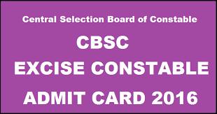 CSBC Bihar Excise Constable Admit Card 2016