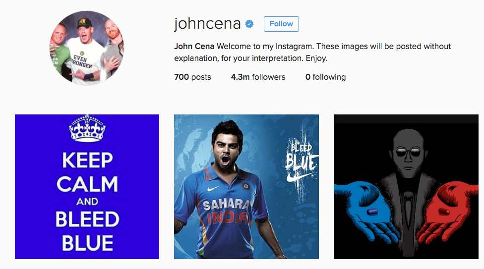 John Cena posts Virat Kohli pic on his Instagram