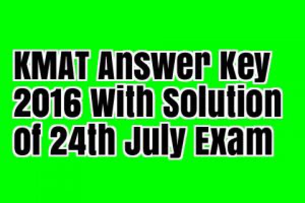 Karnataka KMAT 2016 Answer Key