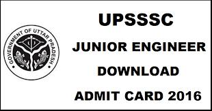 UPSSSC JE Admit Card 2016