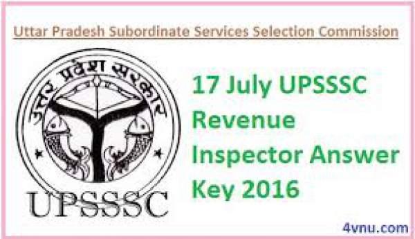 UPSSSC Revenue Inspector Answer Key 2016