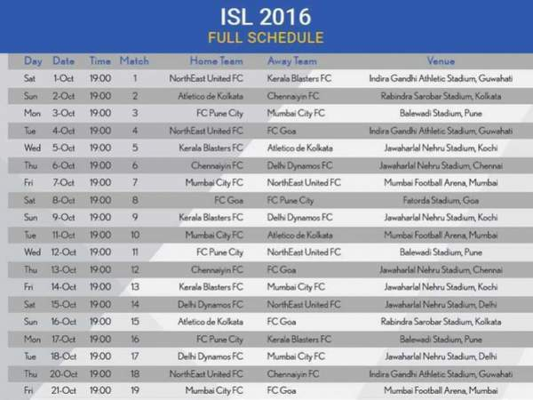 ISL 2016 Schedule: Indian Super League 3 Fixtures & Time Table