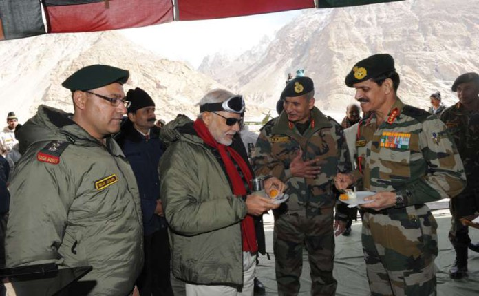 When Modi spare time to visit Siachen glacier in order to meet Army personals guarding the nation.
