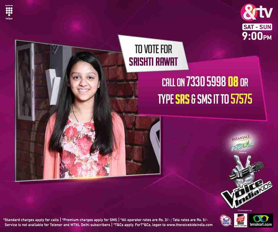 This is your chance to vote for your favorite singer Srishti Rawat from Team Neeti