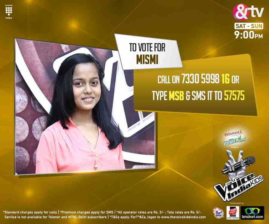 This is your chance to vote for your favorite singer Mismi from Team Shekhar - The Voice India Kids