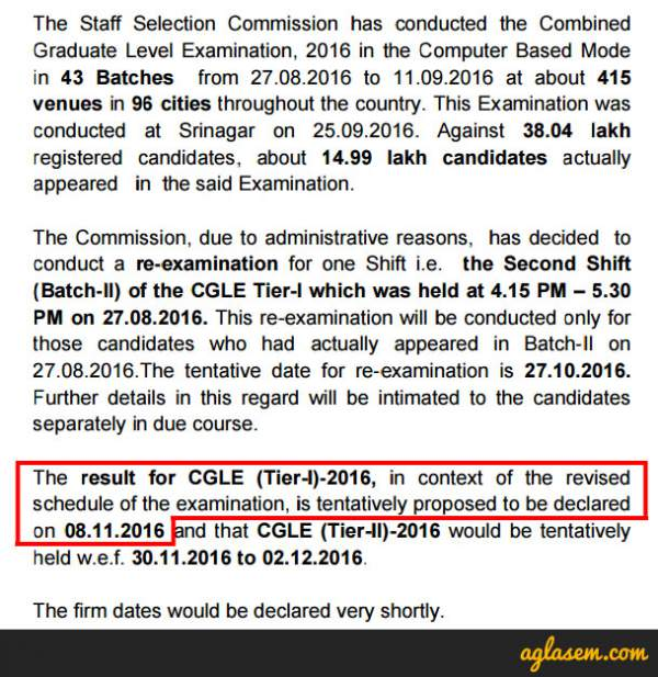 SSC CGL Tier 1 Result 2016 ssc.nic.in