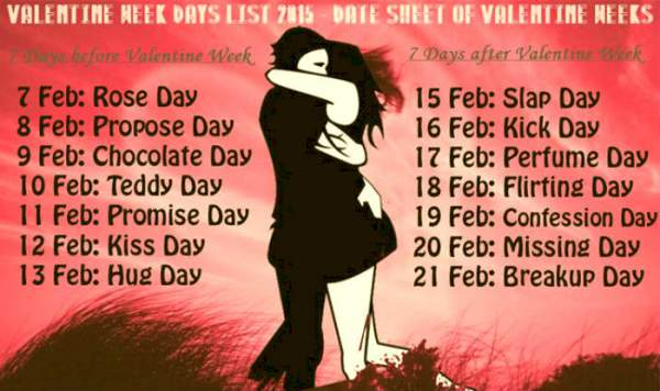 Anti Valentine Week List 2017