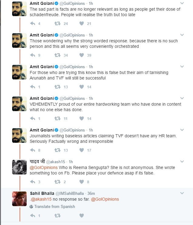 Furthermore, Amit Golani launched series of tweets mentioning nothing such ever happened and The Viral Fever does have a HR Team.
